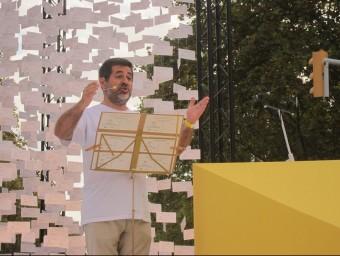 El president de l'ANC, Jordi Sánchez, durant el seu discurs al final de la Via Lliure EUROPA PRESS