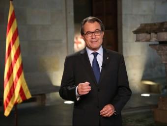 El president de la Generalitat, Artur Mas, durant la declaració institucional d'aquest divendres EUROPA PRESS