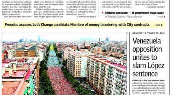 Portada del Buenos Aires Herald EPA