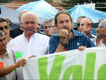 El líder de Podem, Pablo Iglesias, s'ha dirigit als treballador de Valeo, en vaga ACN