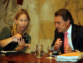 Neus Munté i Artur Mas en la reunió del consell executiu d'aquest dimarts ACN