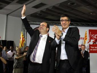 El candidat del PSC a la presidència de la Generalitat, Miquel Iceta; l'exlehendakari i secretari d'Acció Política i Ciutadana del PSOE, Patxi López, a L'Hospitalet de Llobregat ACN