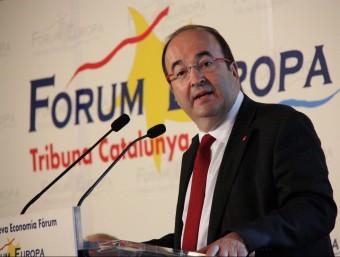 El candidat del PSC, Miquel Iceta, aquest dijous durant la seva intervenció als esmorzars del Forum Europa ACN