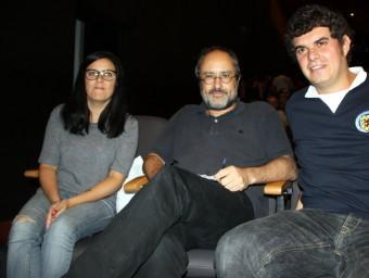 D'esquerra a dreta: Isabel Vallet, Antonio Baños i Ramon Usall abans de participar al míting central de la CUP a Lleida aquest divendres 18 de setembre ACN