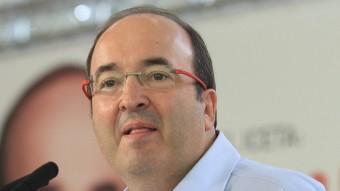 Miquel Iceta , ahir en l'acte central del PSC a Girona, a l'Auditori LLUÍS SERRAT