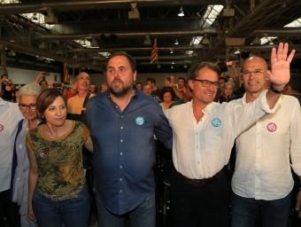 Junqueras, Mas i Romeva, ahir al míting de Junts pel Sí ANDREU PUIG