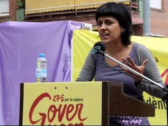 Anna Gabriel durant el míting d'aquest diumenge a Gavà ACN