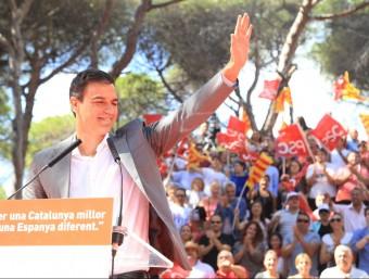 El líder del PSOE, Pedro Sánchez, a la Festa de la Rosa del PSC, l'acte elegit per la formació per a ser retransmès com a compensació per la Via Lliure ANDREU PUIG