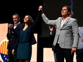 Arrimadas i Rivera, ahir al míting central a l'auditori del Fòrum T.A. /EFE