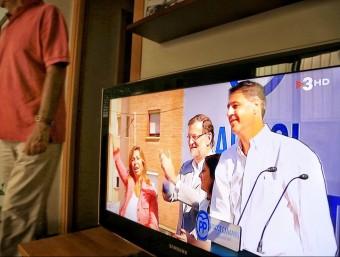 El míting del PP a Badalona retransmès ahir a la tarda per TV3 en compliment de la decisió de la junta electoral A. PUIG