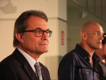 Artur Mas, amb Raül Romeva i Oriol Junqueras ACN