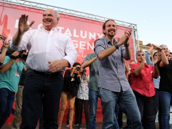 El líder de Podem, Pablo Iglesias, ahir en el míting a Nou Barris JUANMA RAMOS