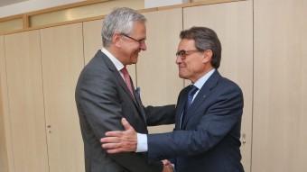Mas i Peeters, durant la reunió que van celebrar el juliol passat a Barcelona.  ARXIU