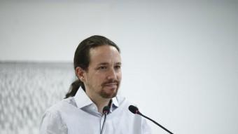 El líder de Podem, Pablo Iglesias, aquest dilluns després de la reunió de l'executiva del partit EUROPA PRESS