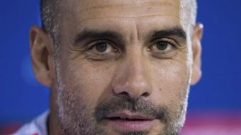 L'entrenador del Bayern, Josep Guardiola, durant la roda de premsa d'aquest dilluns EFE