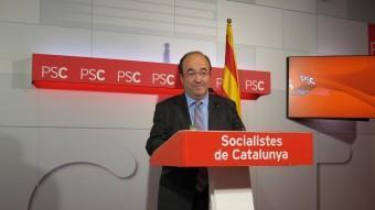 Miquel Iceta, primer secretari del PSC, aquest dilluns a la seu del partit EUROPA PRESS