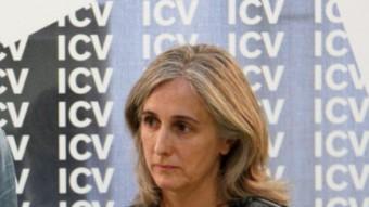 Els coordinadors nacionals d'ICV , Joan Herrera i Dolors Camats ahir durant la roda de premsa ANC