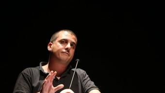 L'exdiputat de la CUP Quim Arrufat, en un acte de campanya de la formació a Figueres QUIM PUIG