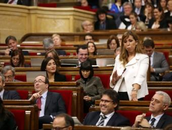 Una imatge del Parlament de l'anterior mandat, amb alguns diputats que no repeteixen (Sánchez–Camacho, Núria Parlón, Rocío Martínez-Sampere i Toni Font, en primer terme).  ARXIU
