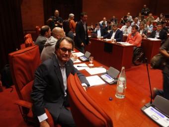 Mas, Romeva i Junqueras ahirla reunió del grup parlamentari deJunts pel Sí ORIOL DURAN