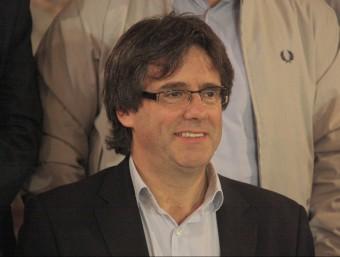 El president de l'AMI, Carles Puigdemont, durant una reunió de l'executiva ACN