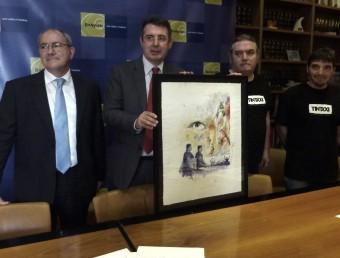 El president del Foment , Joan Leal; l'alcalde, Miquel Noguer, i els autors del cartell, Albert Pascual i Jordi Martínez, durant la presentació de les festes. R. E