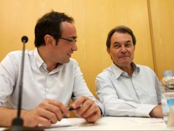 Josep Rull i Artur Mas en una reunió recent de l'executiva de CDC ELISABETH MAGRE