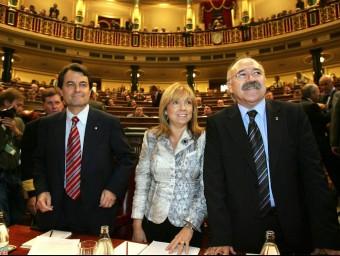 Mas, De Madre i Carod-Rovira van defensar la tramitació de l'Estatut al Congrés el de novembre de 2005, ahir va fer deu anys, el mateix dia que el PP hi presentava recurs d'empara AFP/ARXIU