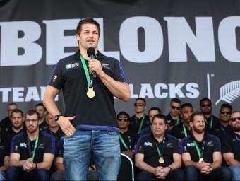 Richie McCaw, en la celebració pel títol que es va fer a Auckland. AFP