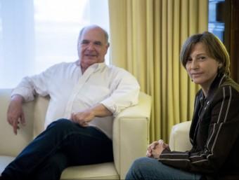 El president del grup parlamentari de Catalunya Sí que es Pot, Lluís Rabell, i la presidenta del Parlament, Carme Forcadell ALBERT SALAMÉ