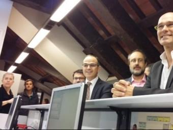 JOrdi Turull, Antonio Baños i Raül Romeva, al registre del Parlament @JUNTSXSÍ