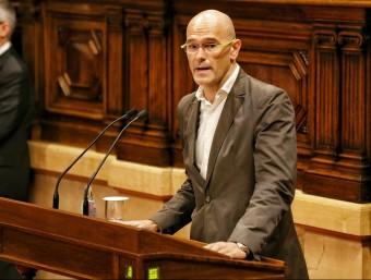 Raül Romeva durant la seva intervenció en el ple del Parlament ANDREU PUIG