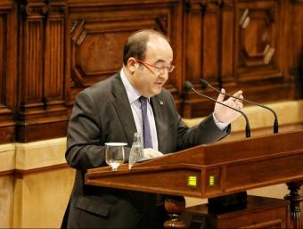 El líder del PSC, Miquel Iceta, aquest dilluns al ple del Parlament ANDREU PUIG