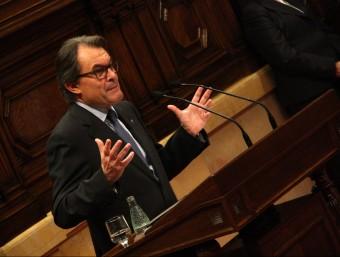 El president de la Generalitat en funcions, Artur Mas, durant el discurs d'investidura ACN
