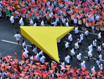 Un detall de la immensa manifestació independentista de la Diada de l'any passat. AFP