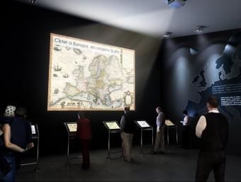 Recreació virtual d'una de les sales del futur centre d'interpretació que es construirà al monestir de Poblet EL PUNT AVUI