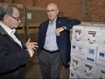 El líder d'UDC, Josep Antoni Duran i Lleida, aquest dijous al Banc dels Aliments de Girona EFE