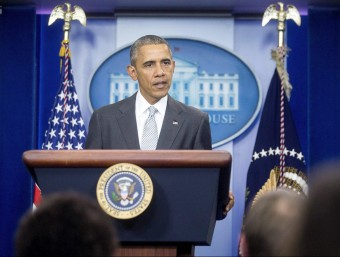 El president dels EUA, Barack Obama, durant la roda de premsa d'aquesta matinada EFE