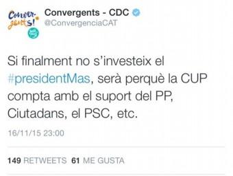 La piulada de CDC, publicada aquest dilluns a la nit, ha estat esborrada EL PUNT AVUI
