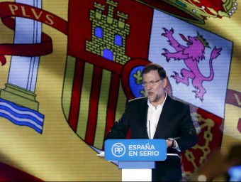 El president Rajoy, en la seva intervenció a Barcelona, ahir al migdia albert gea / reuters