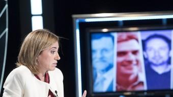 La candidata socialista, Carme Chacón, durant l'entrevista a El Punt Avui TV JOSEP LOSADA