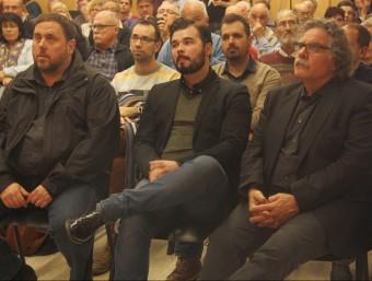 El president d'ERC, Oriol Junqueras, i els candidats al Congrés Gabriel Rufián i Joan Tardà, aquest divendres a Barberà del Vallès ACN