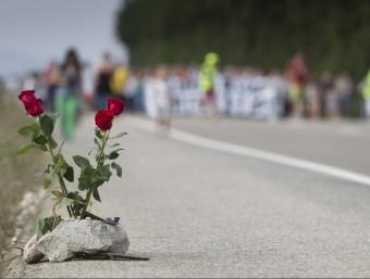 Unes roses recorden les víctimes a la carretera N-340, a Camarles. J.C.LEÓN /ARXIU