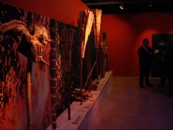 Algunes de les torxes, les grans protagonistes de les falles, que es poden veure en l'exposició del Museu d'Història de Catalunya PAU CORTINA / ACN
