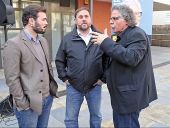 Gabriel Rufián, Oriol Junqueras i Joan Tardà en l'acte de les JERC celebrat a Sant Adrià del Besós JOAN MANUEL RAMOS FERNANDEZ