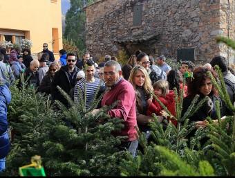 Visitants a la Fira de l'Avet d'Espinelves, ahir al matí J.F. / MANEL LLADÓ