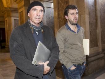 Els diputats de JxSí Lluís Llach i Antoni Comín, aquest dijous al Parlament