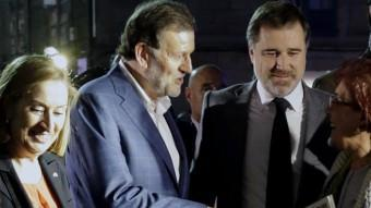 Mariano Rajoy, ahir a Pontevedra, després d'haver rebut l'agressió EFE