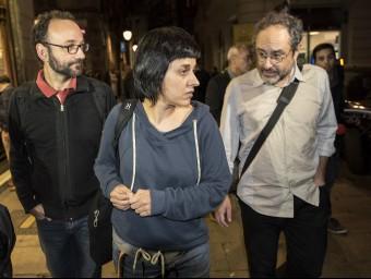 Benet Salellas, Anna Gabriel i Antonio Baños, integrants de l'equip negociador de la CUP, en una imatge del passat novembre JOSEP LOSADA