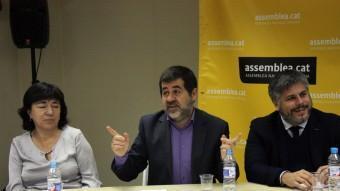 El president de l'ANC, Jordi Sánchez, a la reunió d'aquest matí amb els partits ACN
